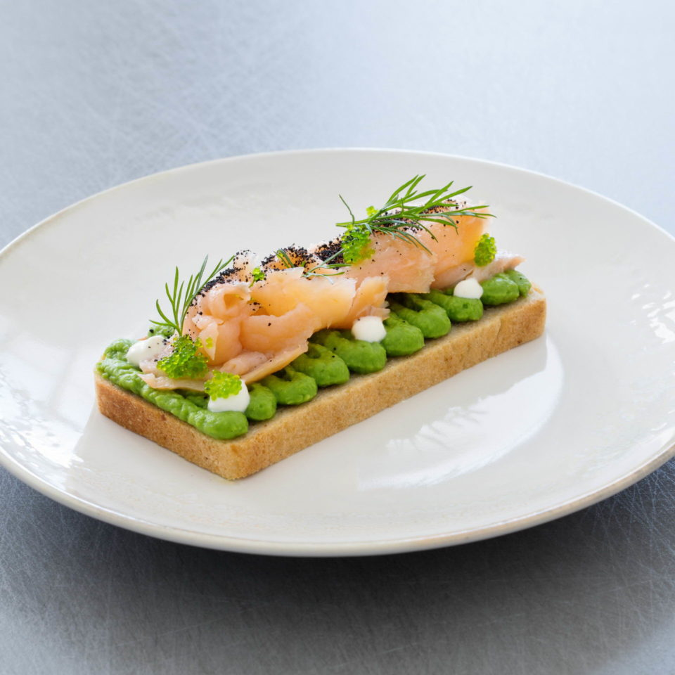 Open sandwich with smoked salmon